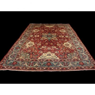 Antique Tabriz Rug, 228 Cm X 330 Cm, Iran, Hand-knotted Wool 1950, Good Condition, Shabbish Spirit