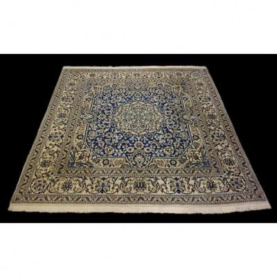 Nain Persian Rug, 195 Cm X 195 Cm, Hand-knotted Kork Wool Circa 1960, Iran, Very Good Conditio