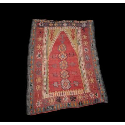 Extremely Rare Kilim Yürük, Anatolia, 139 Cm X 193 Cm, Asia Minor, XIXcy, Very Good Condition For Its Age