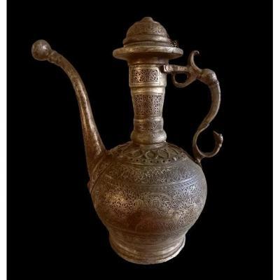 Importante Aiguière en cuivre étamé, Ouzbékistan, XIXème Siècle