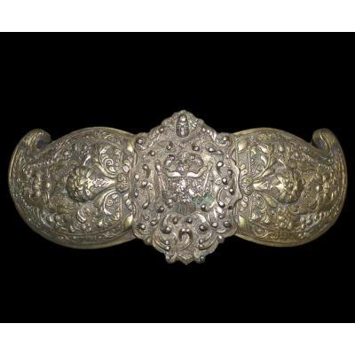 """Ceinture et boucle, """"kamar"""" Asie Centrale, bronze, argent, broderies, XIXème siècle,"""