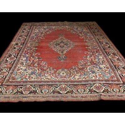 Old Persian Kashan Rug, 265 Cm X 377 Cm, Iran, Late 19th Century, Good Condition Depending On Age