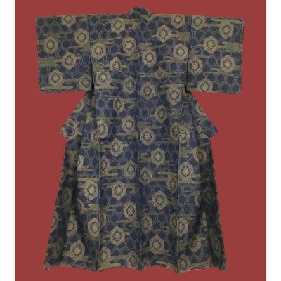 Kimono traditionnel ancien, ère Showa, vers 1950, soie doublée soie