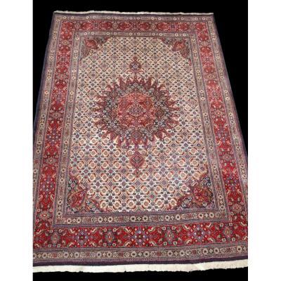 Tapis Persan Moud Mahi, Iran, 214 cm x 310 cm, laine nouée main, vers 1980, superbe état