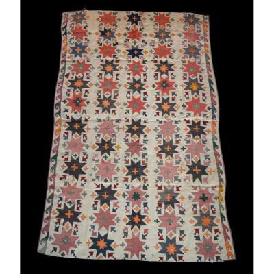 Tapis de Julhir Ancien, 160 cm x 256 cm, Ouzbékistan, fil de soie Brodé sur Coton, Superbe état
