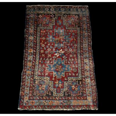 Ancient Tchi-tchi Carpet, Caucasus, 130 Cm X 203 Cm, Chechnya, XIXth In Its State Of Discovery