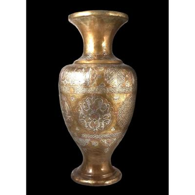 Important Silver Damascened Copper Vase, Middle East From The 19th Century, Very Good Condition