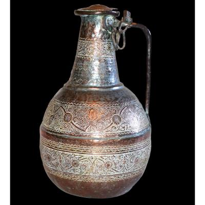 Important Engraved Copper Jug, Tinned, Azerbaijan Or Persia, XIXth Century