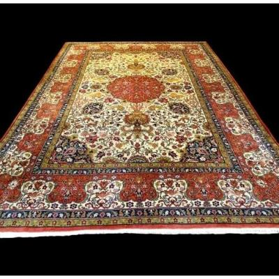 Persian Tabriz Rug, Signed, 272 Cm X 367 Cm, Iran, Hunting Decor, Kork Wool, 1970, Perfect Condition