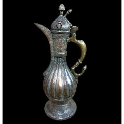 Tinned Copper Ewer, Uzbekistan, Central Asia, 19th Century, Superb Condition