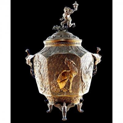 important brûle-parfum en bronze doré, Chine du XIXème siècle
