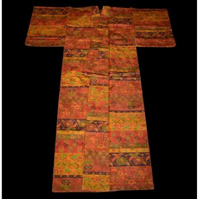Tsumugi Kimono For Women In Silk, Japan, 1950, Very Good Condition
