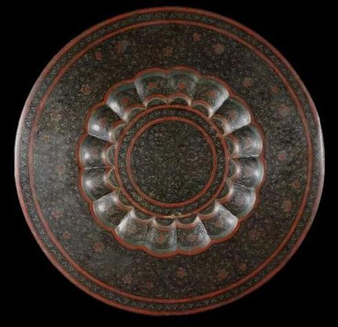 Important vase et plateau orientaux en cuivre émaillé, Indo-persan, 1900/1920, très bel état-photo-2