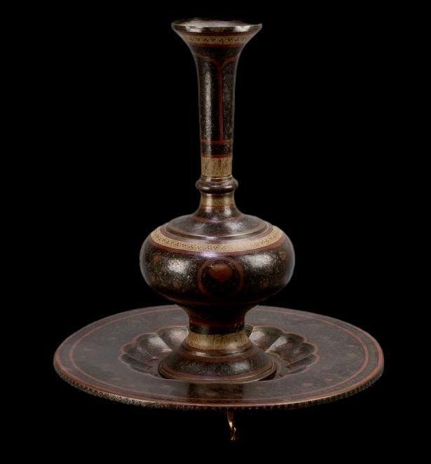 Important vase et plateau orientaux en cuivre émaillé, Indo-persan, 1900/1920, très bel état-photo-3