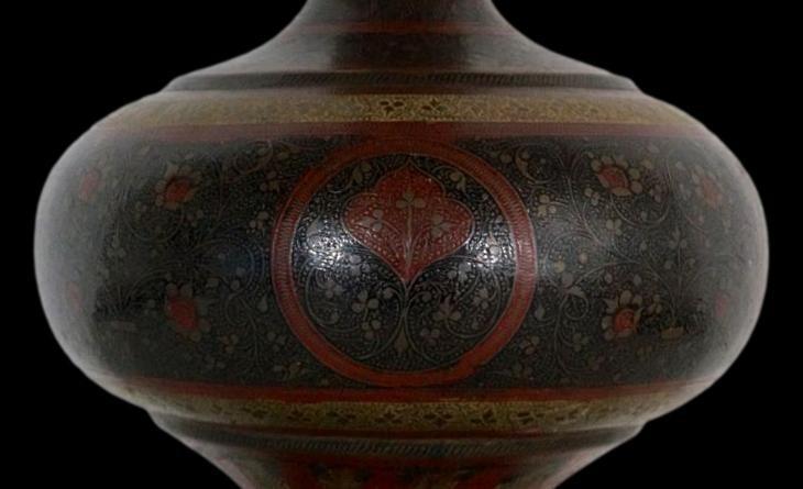 Important vase et plateau orientaux en cuivre émaillé, Indo-persan, 1900/1920, très bel état-photo-4