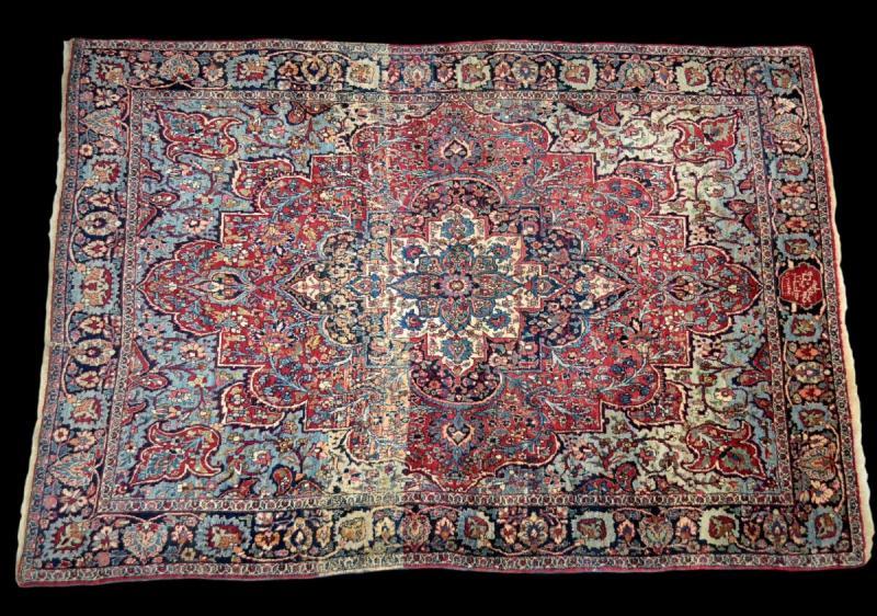 Tapis Persan Ghom ancien, signé, daté, laine et soie, 135 cm x 197 cm, Iran, très bon état-photo-3
