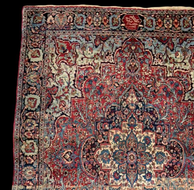 Tapis Persan Ghom ancien, signé, daté, laine et soie, 135 cm x 197 cm, Iran, très bon état-photo-4