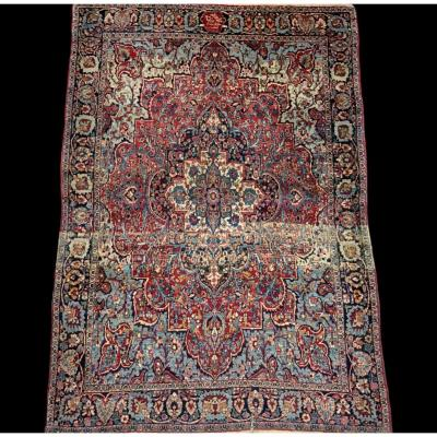 Old Persian Ghom Rug, Signed, Dated, Wool And Silk, 135 Cm X 197 Cm, Iran, Very Good Condition