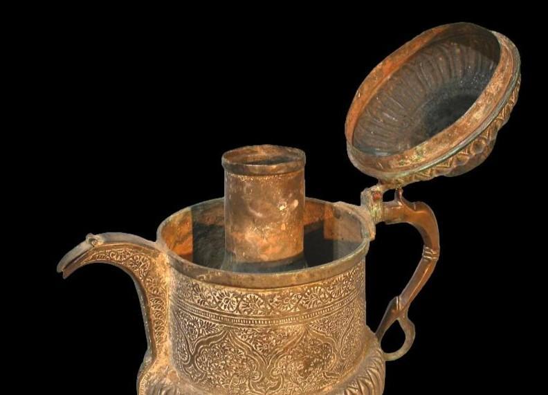 Théière-bouilloire, Perse, Asie centrale, cuivre au repoussé, XIXème siècle-photo-2