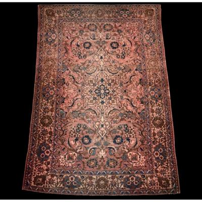 Old Persian Isfahan Rug, 19th Century, 142 Cm X 212 Cm, Iran, Wool And Silk, Good Condition