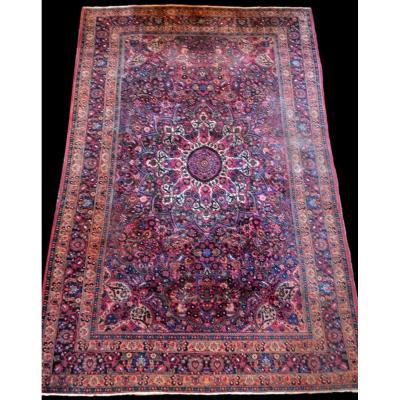 Tapis Persan Macchad ancien, signé, 204 cm x 320 cm, Iran, laine nouée main, bel état