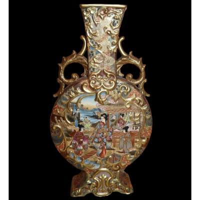 Important vase, décor Japon double face, première partie du XXème siècle, très bon état