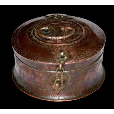 Boite à Bétel en cuivre rouge, Inde, fin du XIXème, début du XXème Siècle