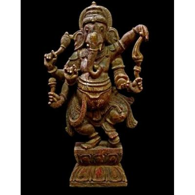 Important Wooden Ganesh, India, Late 19th Century, Beautiful Patina On Old Polychromy
