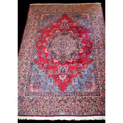 Tapis Persan Macchad signé 250 cm x 356 cm, laine kork nouée main, Iran ,TBE