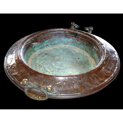 Islam, important brasero ancien du XIXème siècle en cuivre, ou brûle parfum, Asie centrale