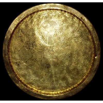 Chiseled Brass Tea Tray, Ottoman Art, Diameter 47.6 Cm, Sumptuous Decor, 19th Century