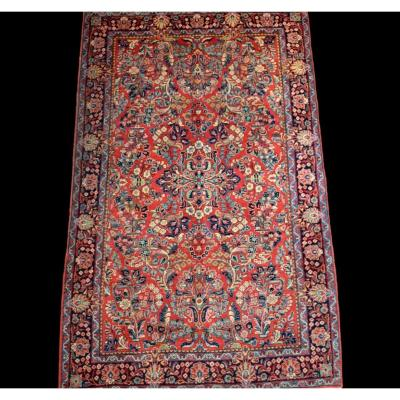 American Sarough ancien, tapis persan, 132 cm x 214 cm, laine nouée main milieu  XXème siècle,