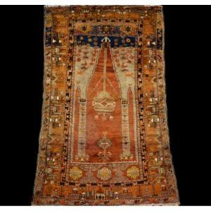 Tapis de prière ancien, Anatolie, Turquie, 100 cm x 163 cm, laine sur laine nouée main