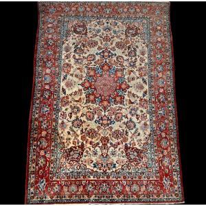Tapis Ispahan, Iran, 150 cm x 220 cm, laine nouée main vers 1950 en bon état