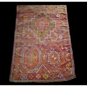 Fragment Of An Old Carpet, Morocco, Rabat? 156 Cm X 253 Cm, Hand Knotted, Late 19th Century, Good Condition