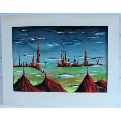 Frans Henri Boers (1904-1982) - Paysage surréaliste
