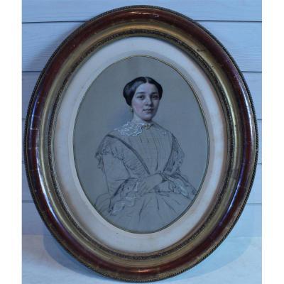 Portrait De Jeune Femme XIXe S