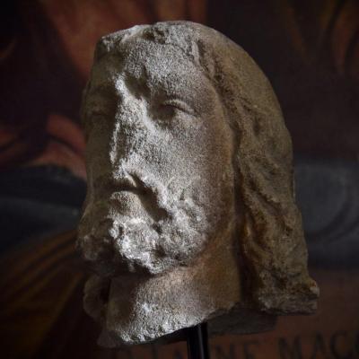 Une Tête De Pierre Sculptée Médiévale Intéressante-14ème-15ème Siècle