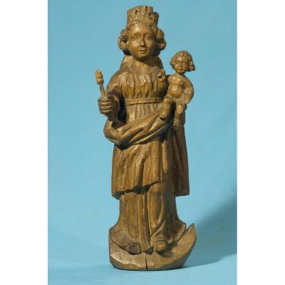 """Beautiful Virgin And Child, Carved Wood Of The 16th Century"" Origin: French or Flemish Condition: view photos Height: 39 cm"