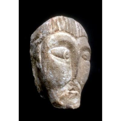 Tête En Pierre Sculptée Gothique Tardif