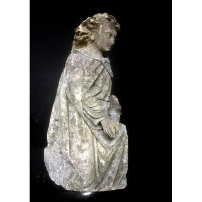 Fin Du XVe Siècle, Période Médiévale / Gothique, Sculpture En Calcaire Sculpté d'Un Ange