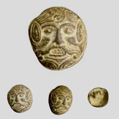 Beautiful Merovingian Face Applique, 7th-8th Century Ad