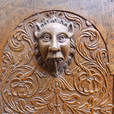 Beau Panneau Grande et Décorative avec un Grotesque Tête De Diable Ou De Lion, Vers 1600
