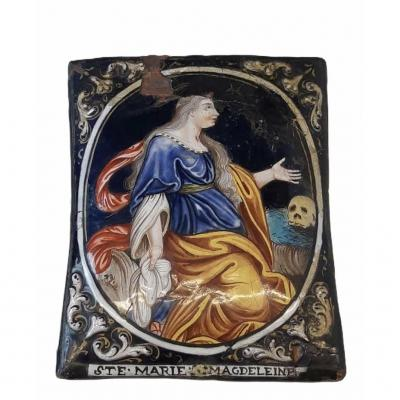 Charmante Ste Marie Magdeleine, Email De Limoges, Monogrammé, Bn
