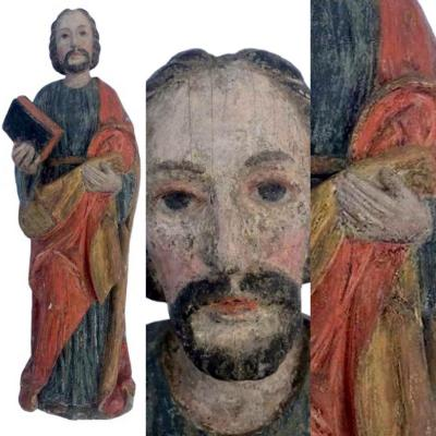 A Very Beautiful Large Apostle In Polychrome Carved Wood From The Seventeenth Century