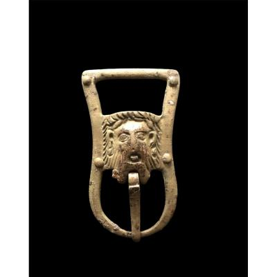 Rare-medieval Buckle With The Head Of Christ