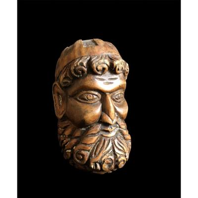 Head Of King David (?) In Carved Wood From The 18th Century