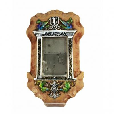 Rare! Antique Enamel Mirror From Limoges, France