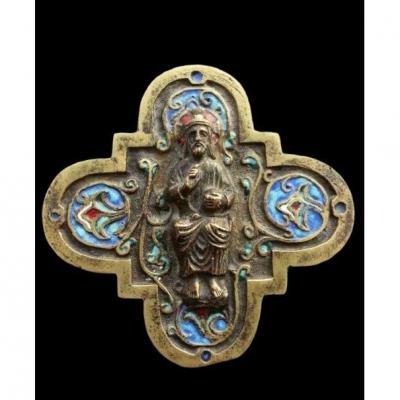 Grand Plaque En Bronze Avec Une Image Du Christ En Salvator Mundi, 19ème Siècle (france)