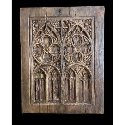 Panneau Gothique Antique En Chêne Sculpté Du XVème Siècle